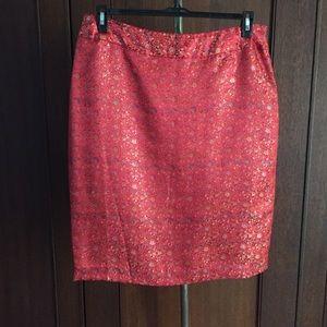 Dresses & Skirts - Red Asian print satin pencil skirt 14 fits like 12
